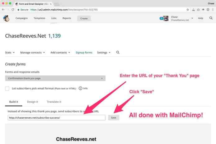 Enter the URL of your thank you page and click 'Save'