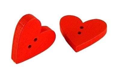 Red Wooden Heart Buttons | Wooden Thing