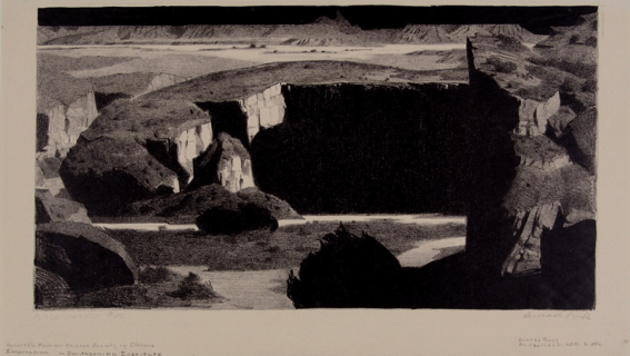"""Conrad Buff, """"Black Canyon,"""" Lithograph, ca. 1931. We peer into Black Canyon's inky shadows from a high vantage point. Swiss-born artist and illustrator Conrad Buff often depicted northern Arizona and southern Utah's remote canyons and high bluffs from an aerial perspective to emphasize the landscapes' dramatic forms. Buff made the first of many trips into southern Utah with his wife, Mary, in 1923, exploring difficult-to-reach canyons and mesas by Model T. Their travels inspired Buff's lithographs of the region and """"Dancing Cloud, the Navajo Boy"""" (Viking, 1937), the first of 14 children's books written and illustrated by the couple."""