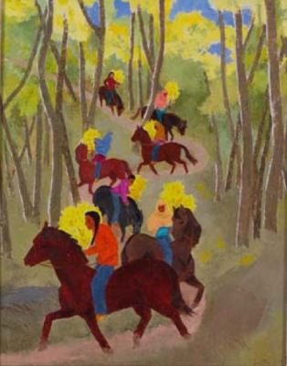 """Barbara Latham, """"Gathering Aspens for San Geronimo Day,"""" oil on canvas, n.d. L2007.00141 [Philbrook loan] In this vibrant painting, riders collect boughs of golden aspen for Taos Pueblo's annual harvest celebration and mass honoring St. Jerome, its patron saint. An adventurous world traveler, Barbara Latham graduated from Pratt Institute in 1919 and embarked on a career in art and illustration. In 1925, she followed Andrew Dasburg, her instructor at the New York Art Students League, west, arriving in Taos just before the feast day in late September. In Taos, Latham met and married Howard Cook, a fellow printmaker and former student of Dasburg. They lived in New York and abroad before settling near Taos in 1939, where Latham painted whimsical New Mexican scenes and illustrated textbooks, magazines, and 17 children's books."""