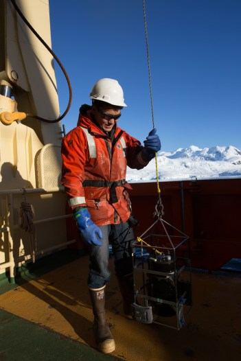 Figure 2. Jack deploys HOBI HS-6, an optical instrument that measures backscattering of the water column.