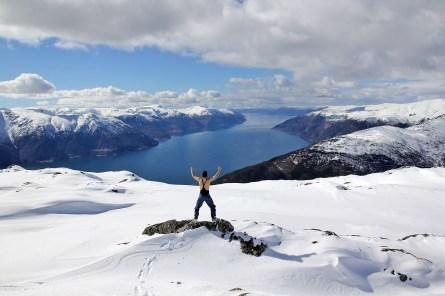 Apr 16 2016: On Hest (1062m), overlooking Sognefjorden