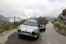 Our rental car on the narrow mountain road