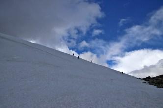 A steep snow field