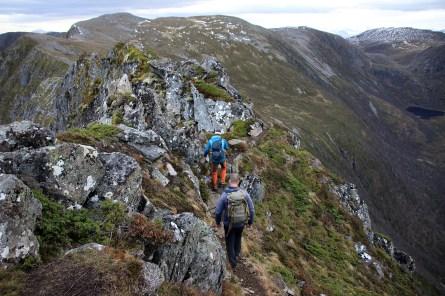 Across the narrow ridge