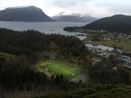 Looking down on the soccer field