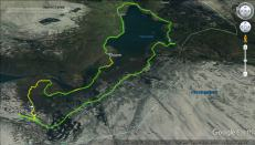 The route. Green = on bike, yellow = on foot