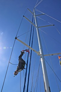 Mats is showing off in the mast
