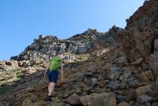 Towards the steep gully
