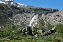 Waterfall below Haugabreen glacier