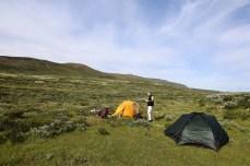 Establishing camp-site in Grimsdalen