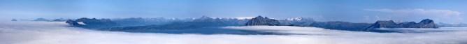 Mainland peaks with Svartisen glacier in the background