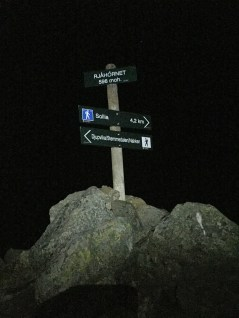 The new pole on the cairn