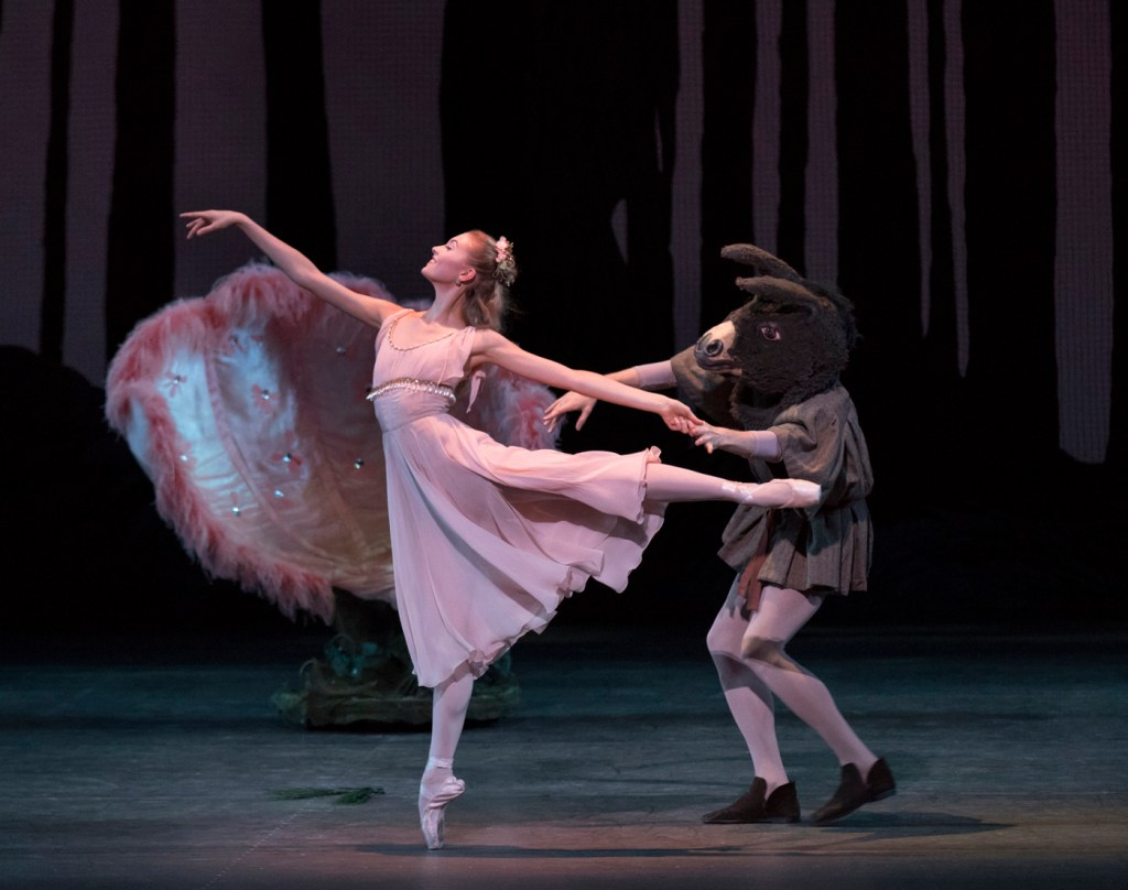 "Miriam Miller and Cameron Dieck in George Balanchine's ""A Midsummer Night's Dream."" Photograph by Paul Kolnik"