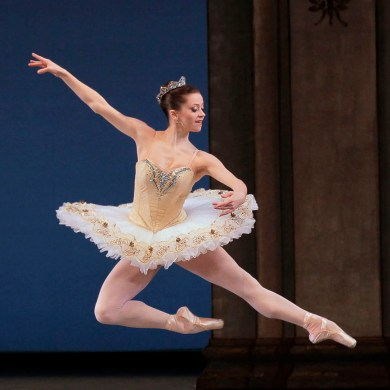 "Megan Fairchild in George Balanchine's ""Tschaikovsky Suite No. 3."" Photograph by Paul Kolnik"