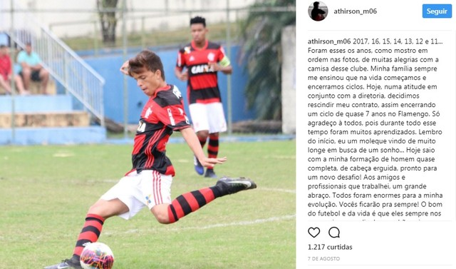 Depois de sete anos de Flamengo, promessa Athirson acerta com Flu