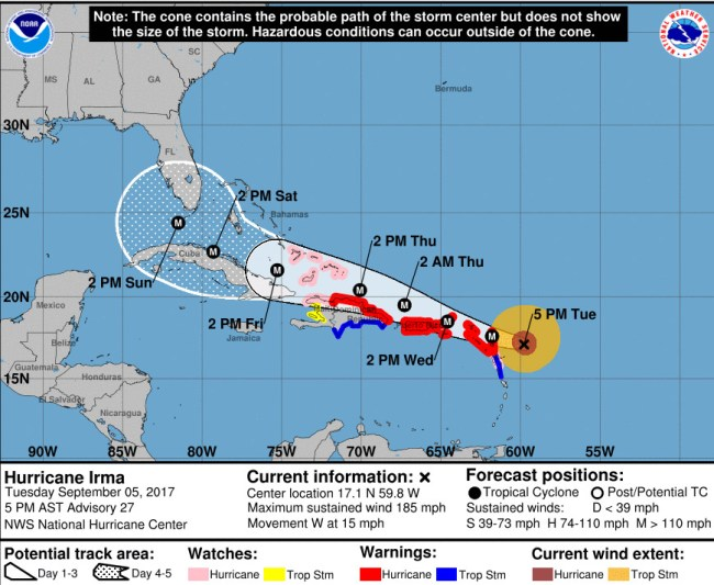 Hurricane Irma's track as of 5 p.m. Tuesday, Sept. 5. Click on the image for larger view.