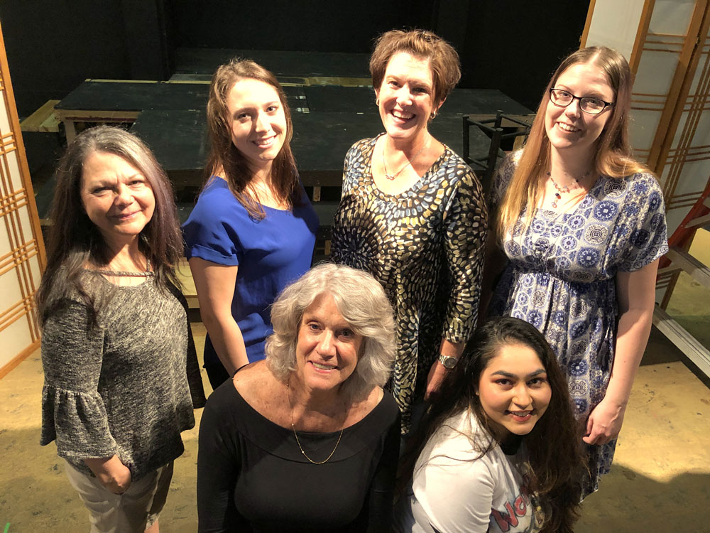 """The Flagler Playhouse production of """"Talking With . . ."""" includes six cast members performing various titled monologues. Clockwise from left are: Evelyn Lynam (""""Lamps""""), Ally Perkins (""""Audition""""), Jerri Berry (""""Rodeo""""), April Whaley (""""Clear Glass Marbles""""), Brittney Tellis (""""Twirler"""") and Madeleine Borth (""""French Fries""""). (© FlaglerLive)"""