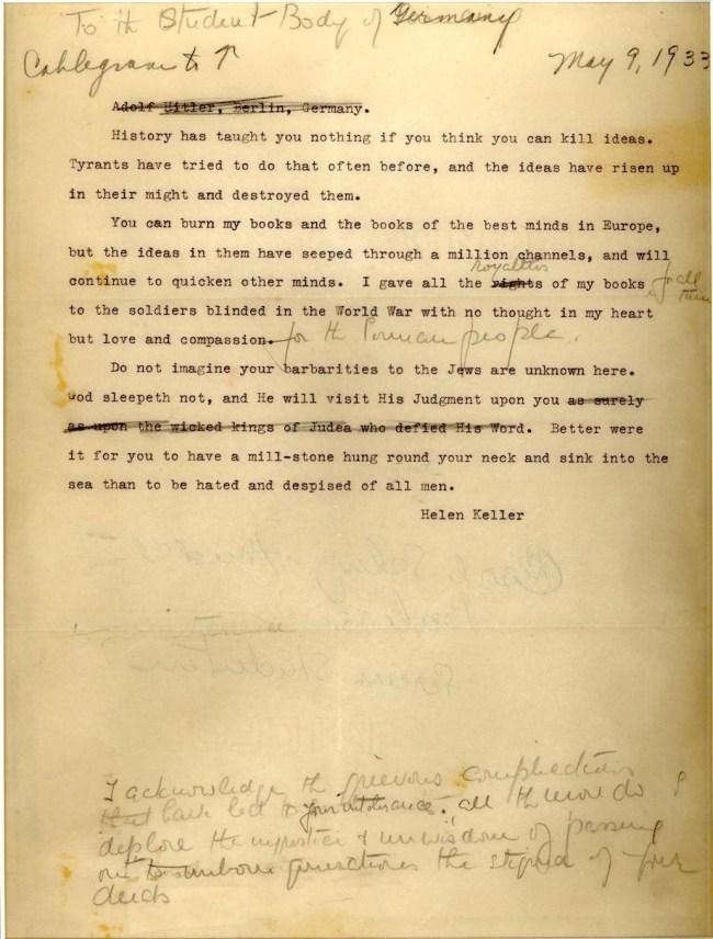 helen keller letter nazis