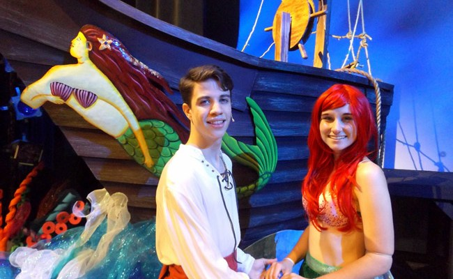 """Austin Branning is Prince Eric and Samantha Shumaker is Ariel in the Flagler Palm Coast High School production of """"The Little Mermaid."""" The musical runs May 10-12 at Flagler Auditorium. (© FlaglerLive)"""