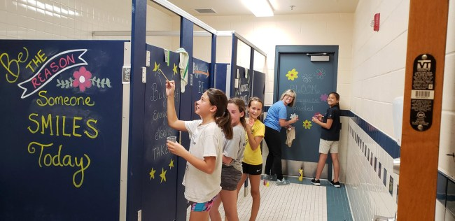 imagine school painting bathrooms