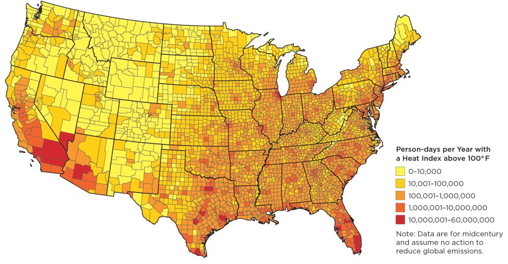 """Click on the map for larger view. (From """"Too Hot to Work,"""" Union of Concerned Scientists)"""