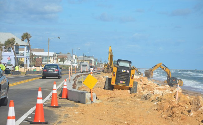 A1A in Flagler Beach is about to be a construction zone again for most of 2019. (© FlaglerLive)