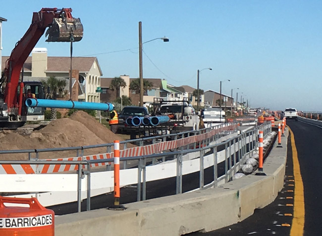 Construction in full swing on A1A in Flagler Beach. (© FlaglerLive)