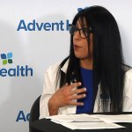 Linnette Johnson, a chief nursing officer for AdventHealth's Central Florida Division, at today's AdventHealth Morning Briefing. (AdventHealth)