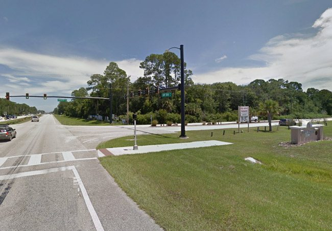 The proposed development at the center of the latest dispute over water between county and Palm Coast government is at the southeast corner of State Road 100 and the entrance to the county airport, opposite Bulldog Drive.