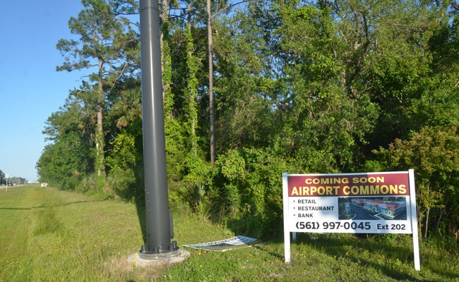 The Airport Commons property stretches along State Road 100 near the airport, across the street from where Palm Coast is working with developers to bring a Wawa. (© FlaglerLive)