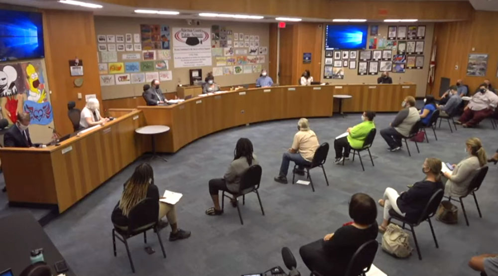 The Alachua County School Board meeting on Sept. 21 in a screen capture from its meeting video.