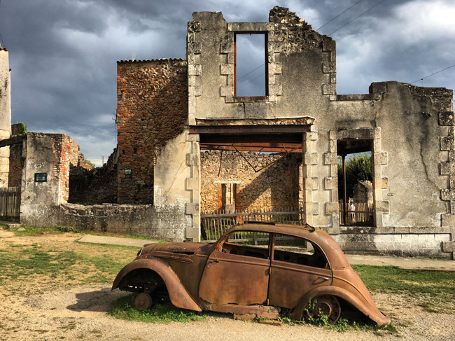 The town of Oradour-sur-Glane toward the southwest of France was demolished and its more than 600 inhabitants massacred by the Nazis in 1944. The French government has since let the town stand as a memorial. The town makes a cameo in Kate Quinn's 'The Alice Network,' this year's choice for Flagler Reads Together. But the cameo exemplifies the many problems in the book. (Wikimedia Commons)