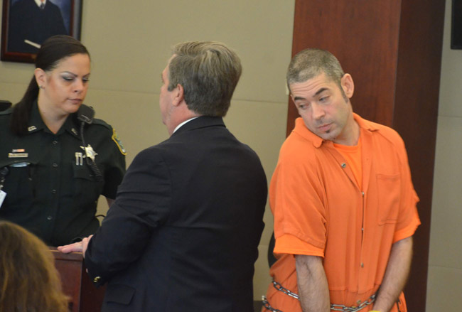 Sam Andolina, right, has had a difficult time finding a place to live where he would not be in violation of his sex offender probationary and designation status. He was in court today for his sentencing. He could have been released. He agreed to stay in jail. (© FlaglerLive)