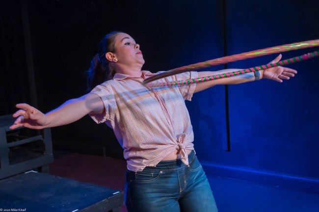 "Angela Young plays the chorus, Hula Hoop included, in City Repertory Theatre's production of Shakespeare's ""Romeo and Juliet."" (Mike Kitaif)"