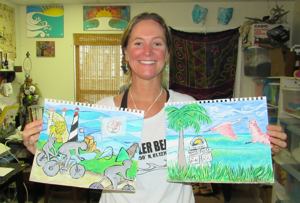 The Friends of A1A Scenic & Historic Coastal Byway have released their 2020 Spoonbills & Sprockets Cycling Tour jersey design by Flagler County artist Carla Cline. Founder of Flagler Surf and owner of art boutique Flagler Surf Art & Stuff, Cline is a regionally known artist specializing in beach art and sunrise photography. Cline follows Salvo Art Project founder and artist JJ Graham as the official designer of the Friends of A1A Scenic & Historic Coastal Byway, Inc. exclusive jersey line, featuring concepts from local artists in the A1A Byway communities. (Scenic A1A)