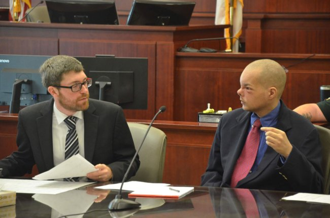 Joseph Bova, right, wanted to fire his public defender, Josh Mosley. Mosley filed the motion for a new trial, heard and denied on Tuesday. (© FlaglerLive)