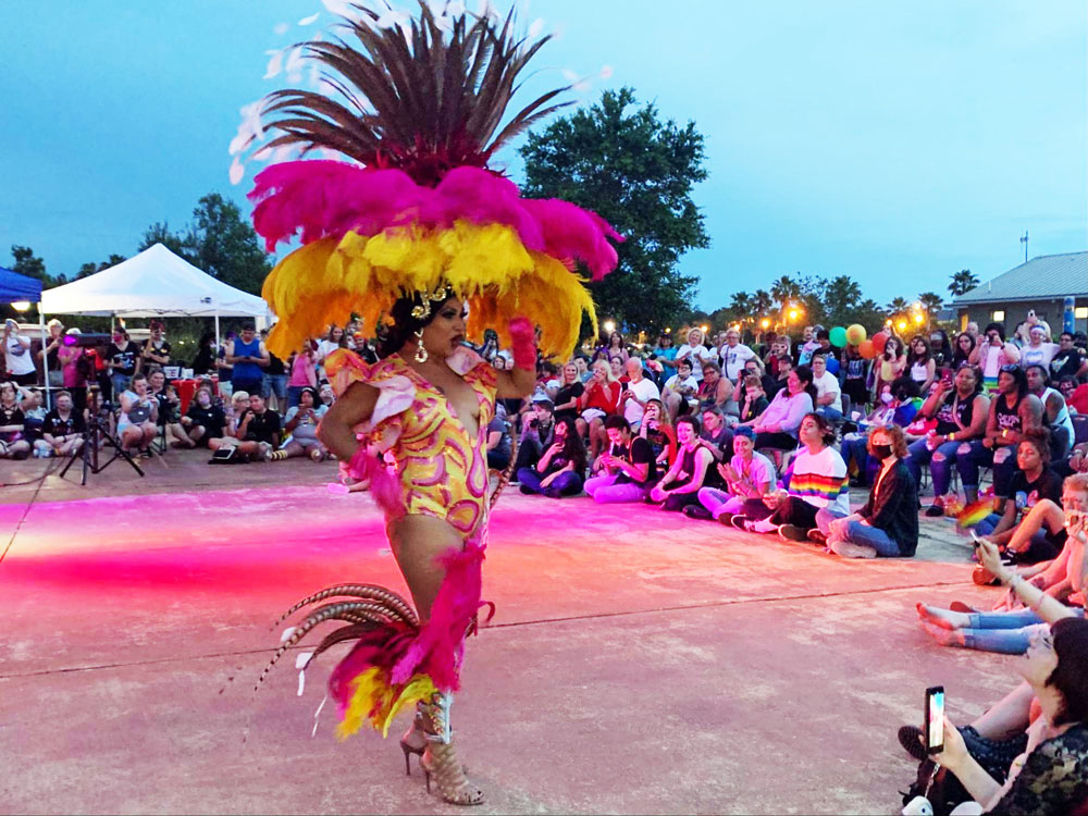 Drag Queen Brittany Moore during her performance at Central Park Saturday evening. (© FlaglerLive)