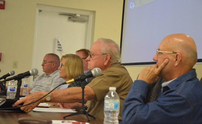 Bunnell City Commissioners during their interviews of two candidates for manager Monday evening. (© FlaglerLive)