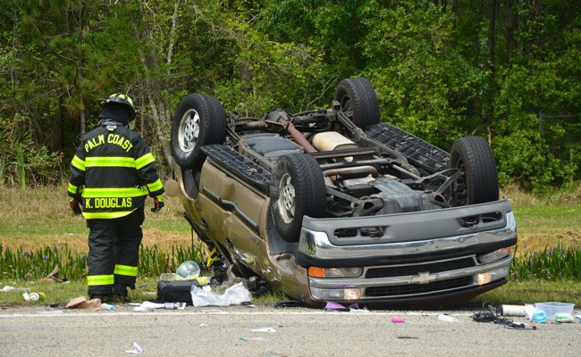 The Tahoe after a t-bone crash at Education Way and U.S. 1 today. (© FlaglerLive)