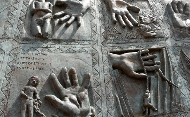 Detail from Michael Irving's memorial to child abuse victims. (Harvey K)