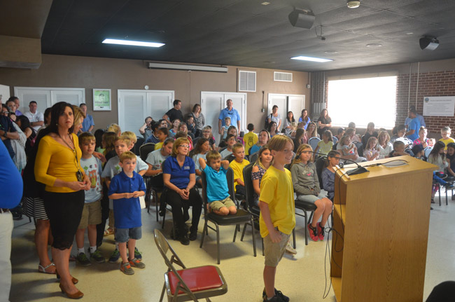 The Flagler Beach City Commission's board room was filled with a different sort of audience Wednesday during a Kids Town Hall. (© FlaglerLive)
