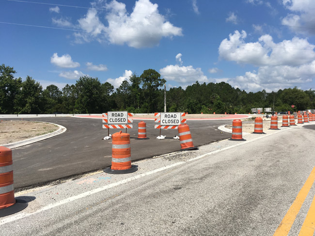 The roundabout work site at Old Dixie and U.S. 1 has looked abandoned for weeks. (© FlaglerLive)