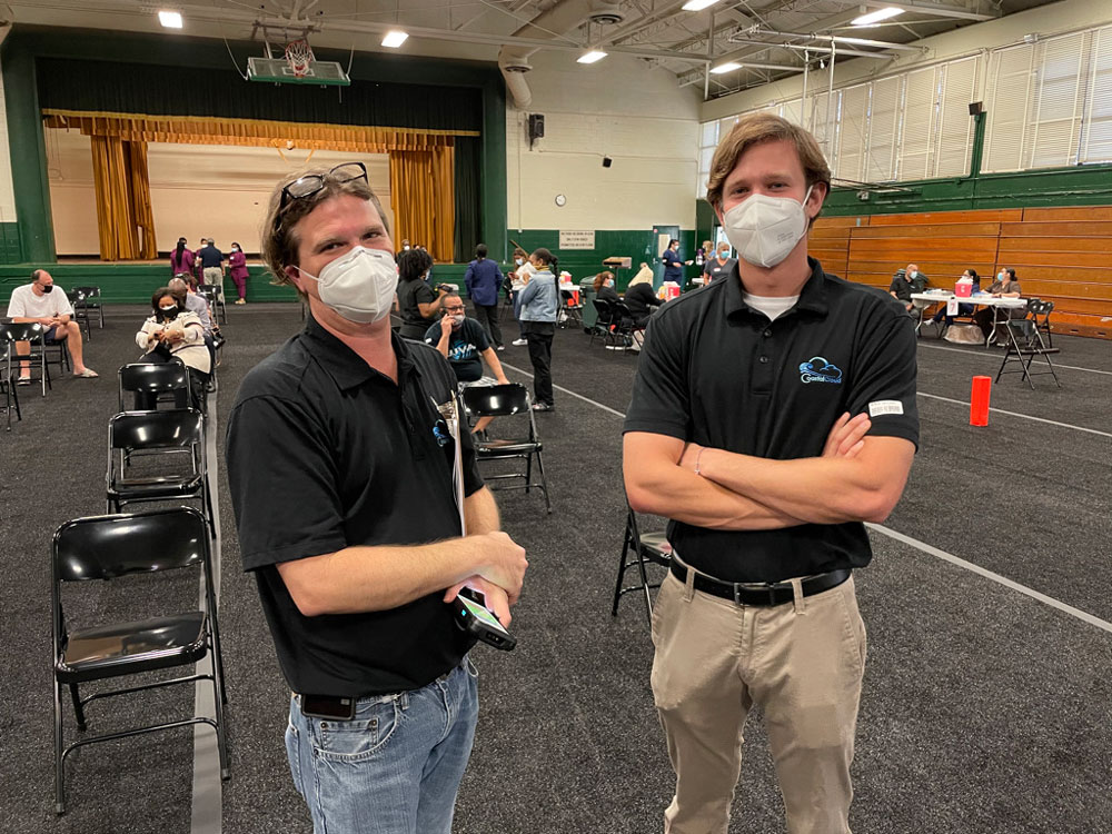 Trae Thompson (left) and Eric Westbrook (right)   The picture was taken at Jacksonville Vaccine site at Edward Waters College.