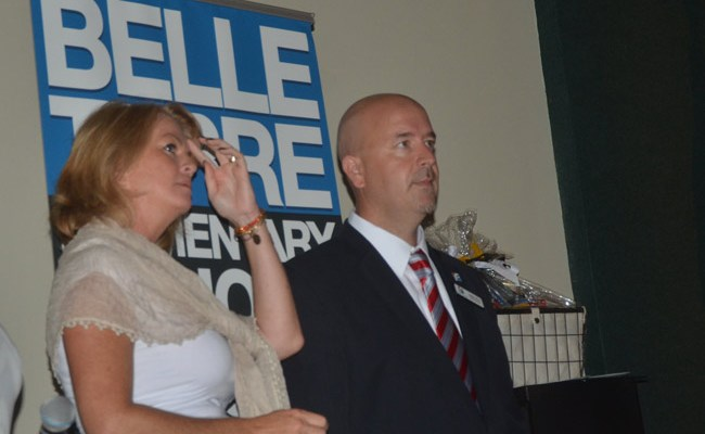 School Board Chairman Colleen Conklin and Superintendent Jacob Oliva at a presentation before district staff at the beginning of the last school year. (© FlaglerLive)
