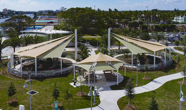 Shade Systems, Inc., of Ocala will install the sort of covers seen above at four Palm Coast parks by late summer. (Shade Systems, Facebook)