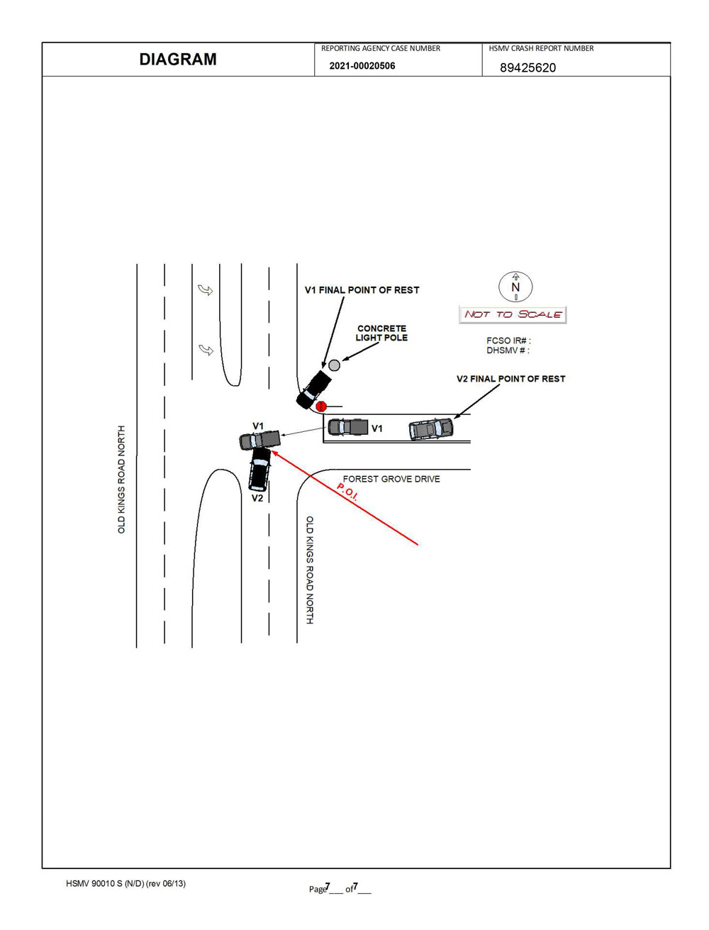 The crash report's drawing of the crash sequence. Not drawn to scale. (FCSO)
