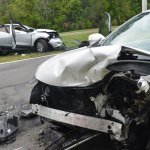A head-on crash took place on Belle Terre Parkway today just after 1 p.m. (© FlaglerLive)