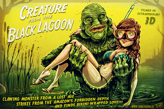 An only slightly spoofed version of the famous poster of 'Creature from the Black Lagoon,' the movie shot at Marineland and shown Saturday at the attraction as part of its 50-year celebration. See below.