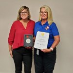 Red Cross Space Coast Chapter Executive Director Rebecca DeLorenzo with Caryn Prather. (Flagler County)